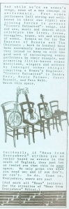 A short column illustrated with a drawing of instruments - banjo, guitar, fiddle, accordian - propped up on four chairs, announcing that ' four women performers all strong and well-known in their own right are joining forces to present Sisters Unlimited. Music and dances which celebrate the lives, loves, struggles, hopes, wit and wisdom of women.'