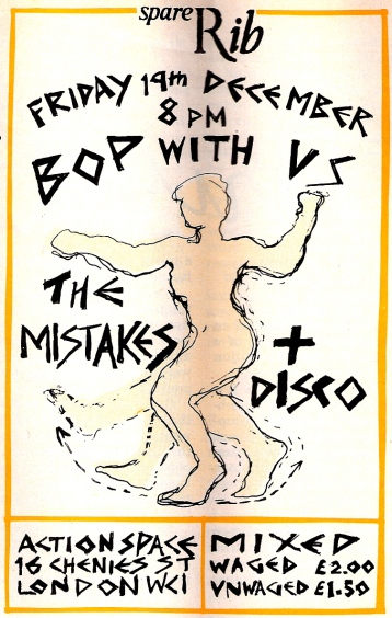 Flier for Spare Rib gig with The Mistakes + Disco. Hand drawn image of woman dancing, black writing on white background.