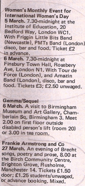 Gig advert for Friggin Little Bits in London from Spare Rib. Women's Monthly Event for International Women's Day, 1982, also featuring band PMT.