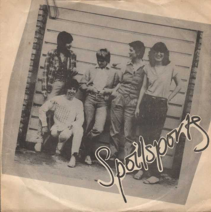 Black and white photo of band attached by a paperclip at the top left hand corner. 'Spoilsports' written on bottom left hand corner.