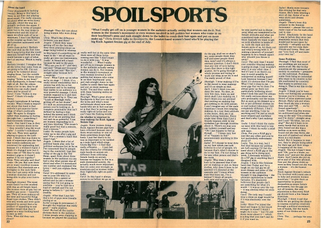 Faded news clipping of an article headed 'The Spoilsports. Chris Stretch talks to the Spoilsports, London based women's band who'll be playing the big Rock Against Sexism gig in July.' Photos of performances by the bass player and the whole line up accompanying.