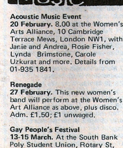 'Acoustic music event. February 1981 at the Women's Arts Alliance, London W1, with Janie and Andrea, Rosie Fisher, Lynda Brimstone, Carole Uzkurat and more.'
