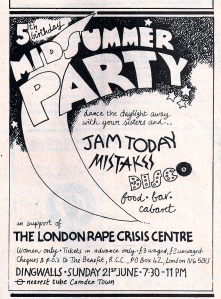 Midsummer Party flier, black and white, hand drawn, feat. The Mistakes, Jam Today, Disco. Fundraiser for the London Rape Crisis Centre