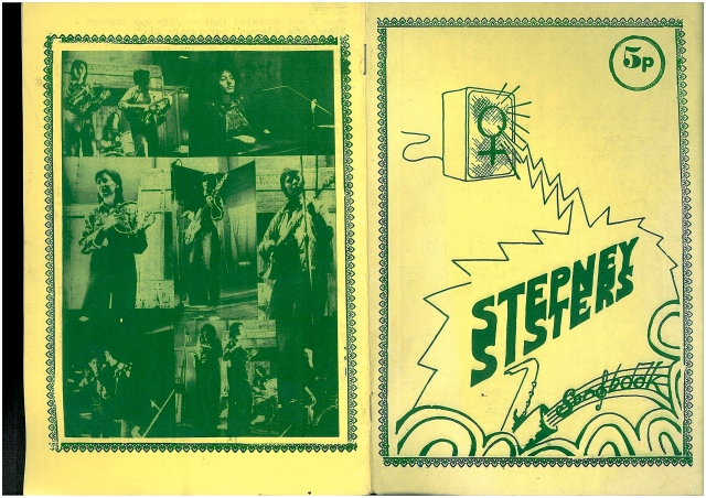 A yellow cover with a hand drawn amplifier decorated with a woman's symbol from which comes an abstract zig zag design and the words Stepney Sisters Songbook, the price of 5 pence, and pictures of saxophones. The back cover is a collage of photos of the band members in performance.