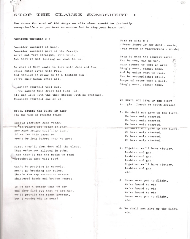 The songsheet contains lyrics to the tunes of 'Consider Yourself', 'Freight Train' ('Civil rights are going so fast'), 'Step by Step' ('Step by step the longest march can be won, can be won.' Words by Sweet Honey in the Rock, tune by the USA's Union of Mineworkers, and 'We Shall Not Give Up the Fight.'
