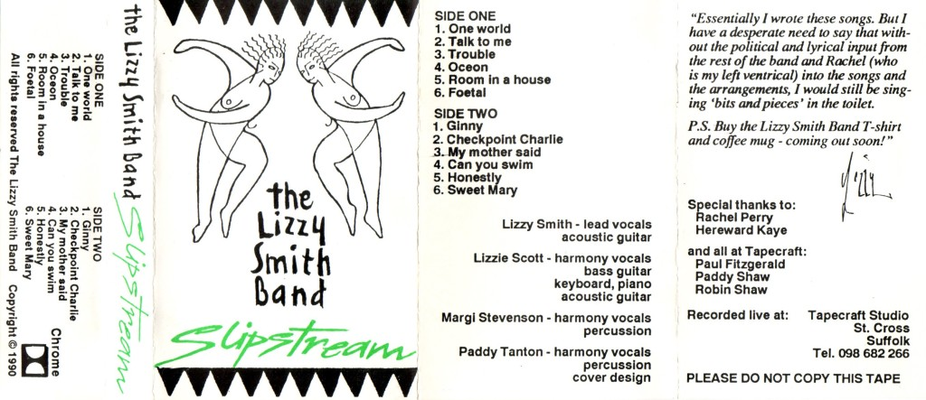 Cassette cover for twelve track tape featuring hand-drawn naked women dancing and the title 'Slipstream' in bright green, band name, track names and members list in black on white.