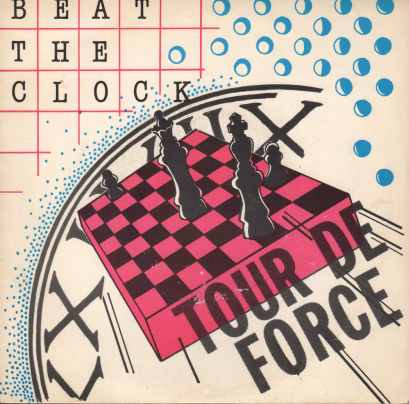 White background with a chess board in the centre of image. A clock face looms behind the board. A number of blue circles occupy the top right half of the image.