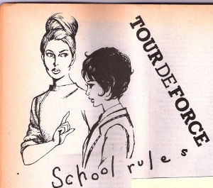 The cover of Tour de Force's record School Rules, illustrated with drawings of two women in the style of the schoolgirl comic strip from girl's magazines of the time. The older one - a teacher - wags a finger in admonition at the other, in school uniform, who hangs her head.