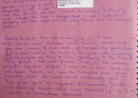 Excerpt from Mavis Bayton's tour diary, handwritten on pink paper, detailing a gig in reading