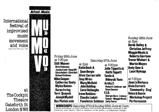 Advertising the International Festival of Improvised Music, Movement and Voice held in 1981 at the Cockpit Theater, north London, featuring many artists including Terri Quaye.