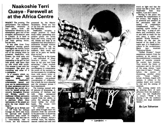 Caribbean Times review of Terri Quaye's 1982 farewell concert at the Africa Center, by Lyn Yelverton, praises Terri's performance of drumming as 'magic' with hugely affectionate audience reception. Accompanying photo shows Terri playing talking drum, held under one arm, and congas are also on stage.