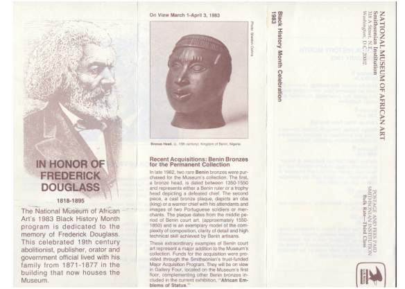 Flyer for Black History Month celebration at National Museum of African Art, Washington DC, USA, 1983. Dedicated to the memory of Frederick Douglas, 1818 - 1895, who lived in the building now housing the museum.