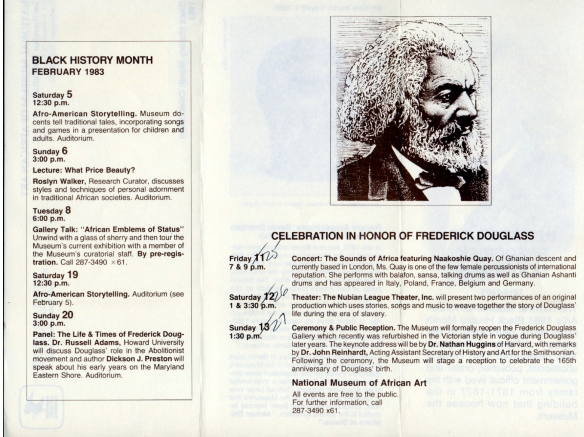 Flyer for Black History Month celebration at National Museum of African Art, Washington DC, USA, 1983. List of events says 'Naakoshie Quaye 'of Ghanian descent ... one of few female percussionists of international reputation.'