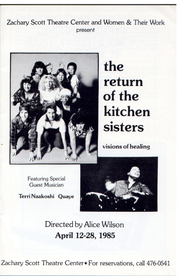 Program for The Return of The Kitchen Sisters: Visions of Healing, Texas, USA, 1985, shows nine cast members posing inc Terri Quaye, special guest musician.