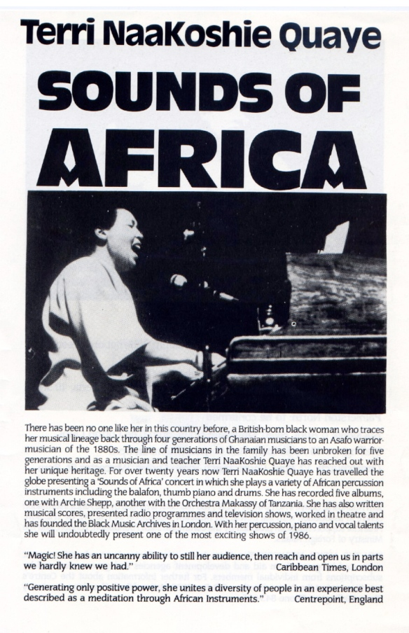 Advertising Terri Quaye's 1986 tour of New Zealand, with a photo of Terri playing piano and singing.