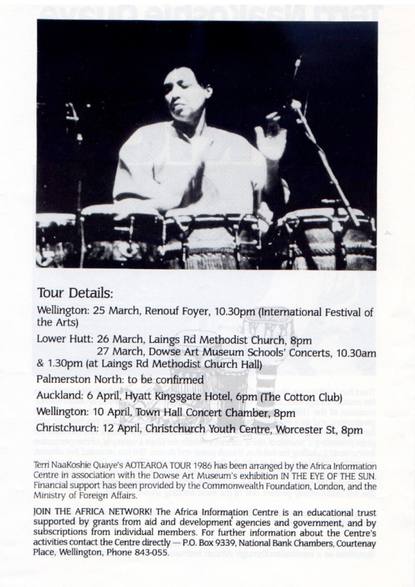 Dates and venues of Terri Quaye's 1986 tour of New Zealand, with a photo of Terri playing conga drums.
