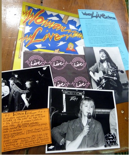 A collage of images of women singing and playing guitars, bright posters and ephemera  advertising Women Live.