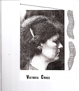 Right hand side of a Sally Forth Programme showing Victoria Cross in profile. Fragments of text as part of the design.