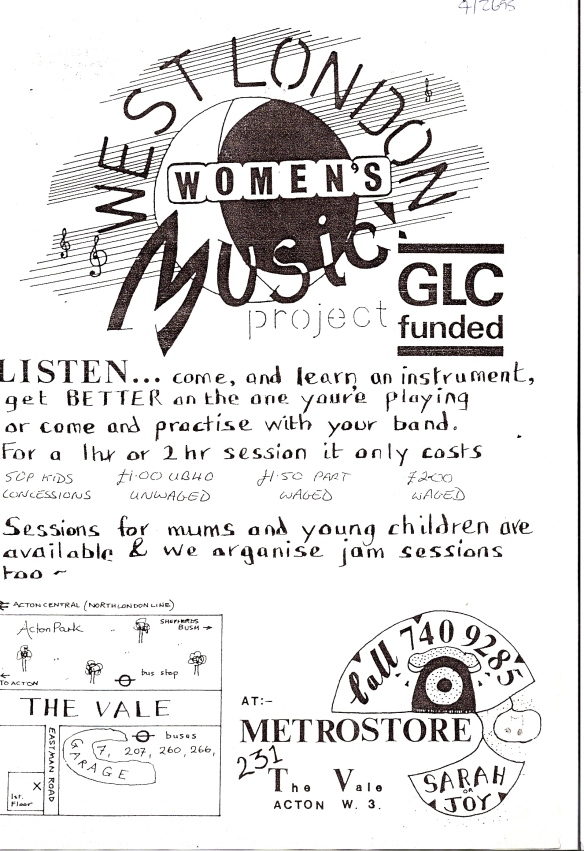 Black and white flyer for West London Women's Music Project. Decorated with a moon drawing and musical notes. 'GLC funded. Listen ... come, and learn an instrument, get BETTER on the one you're playing or come and practise with your band.' Prices, sessions available for mums, young children, jam sessions. Directions to venue: the Vale, Acton W3.
