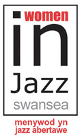 Text of the logo in English and Welsh reads, 'women in jazz swansea, menywod yn jazz abertawe.' Black and white letters inside a black square on white background.