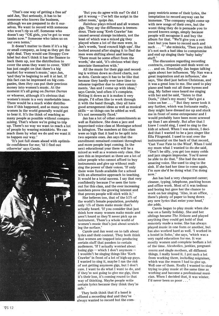 Continuing an article based on interviews with Carol Nelson and Jan Ponsford, of the Rainbow Trout Quintet, in wihc they discuss jazz, and the difference between mixed adn women only gigs, and the tape they have made. A photo of Angele Veltmeyer playing a saxophone accompanies the article.