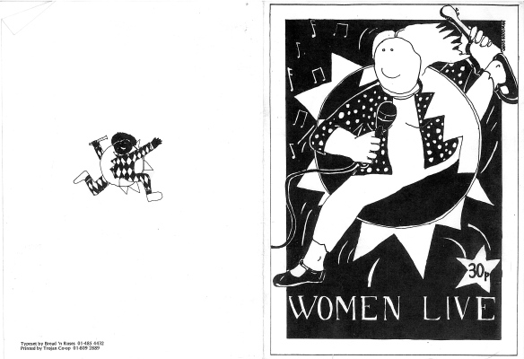 Black and white programme cover for Women Live, price 30p, vibrant hand drawings of black and white women jumping through bass drums holding microphones and guitars, surrounded by musical notes. 'Typeset by Bread 'n' Roses.'