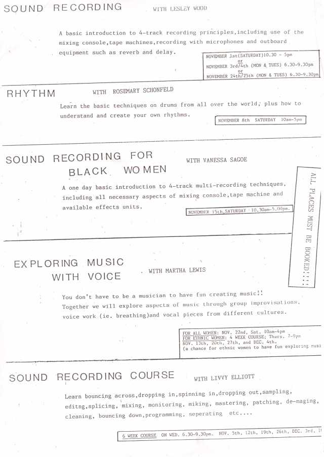 Advert for workshops available at the Ova music studio. Includes Sound Recording with Lesley Wood, Rhythm with Rosemary, Sound Recording for Black Women with Vanessa Sagoe, Exploring Music Through Voice with Jana, Sound Recording with Livvy Elliott.