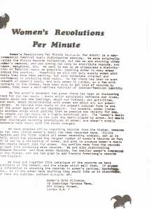 Black and white text flier detailing the philosophy behind the Women's Revolutions Per Minute non-commercial distribution service for feminist music, describes importing records from America, and beginning to distribute records from the UK