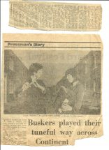 Newspaper clipping that features the YSB with headline 'Buskers play their tuneful way across the continent.' A faded photo of flute and accordian players.
