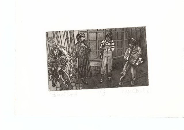 Black and white pencil drawing of the York Street Band playing on the street, saxophonists, flute and accordian.