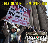 Photo on CD cover shows Occupy movement on steps of St Paul's cathedral, a woman holds a placard 'no more predatory capitalism.'