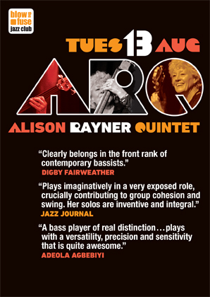 Flyer for ARQ gig, information as above, but with ARQ logo showing photos of Ailson playing double bass and bass guitar