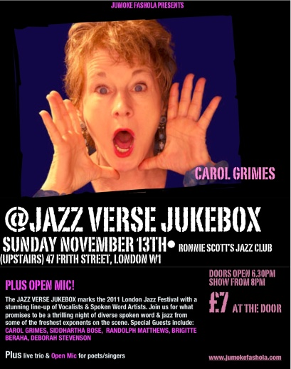 Flyer for Carol Grimes gig at Ronnie Scott's club November 13th 2011