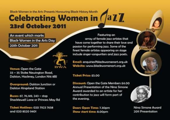 Poster for Black Women in the Arts event, 23rd November 2011