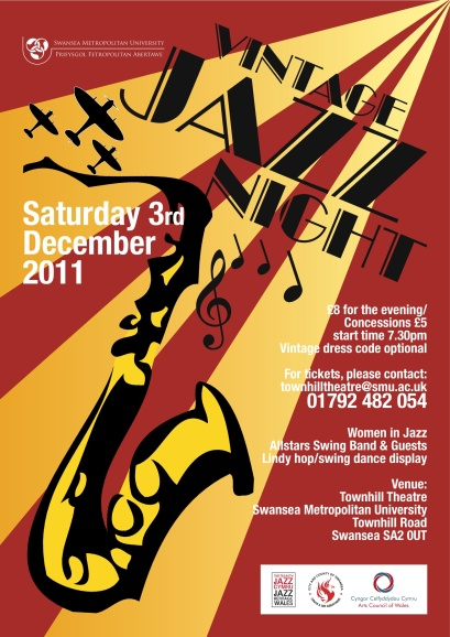 Poster from Jazz Archive Wales for Swansea gig Saturday December 3rd 2011