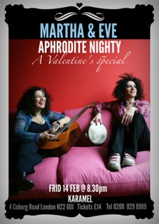 Poster for Martha and Eve's Valentine event February 2014 shows them seated on lush sofas with guitar smiling. Info on gig as above.