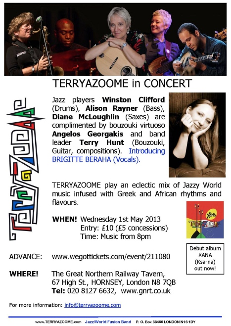 A bright poster for Terryazoome concert May 1st 2013with info (as below) illustrated with Greek-style lettering and photos of the musicians