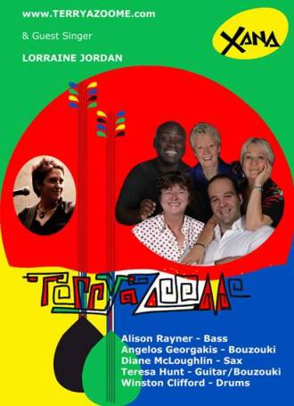 Bright blue, yellow, green and red flyer for Terryazoome with a stylised drawing of two Greek bouzikis, a photo of the five musicians smiling, plus a small photo of Lorraine Jordan, guest singer. Gig information  is on this page, above the image.