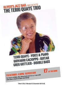 Flyer for the Terri Quaye Trio gig 7 October 2011