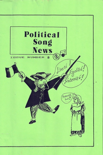 Cover of this magazine has a cartoon of a man from the French revolution waving a flag and a gun, proclaiming 'Liberte! Egalite! Fraternite!' An unsmiling woman with arms akimbo  is thinking 'Fraternite, huh?!'