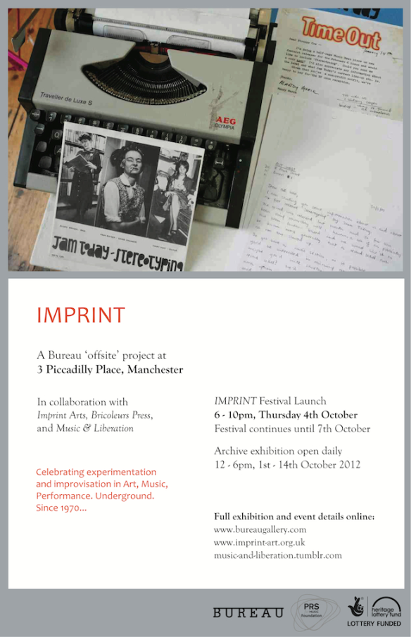 "Invitation for the Manchester exhibition. Picture includes a typewriter, the Jam Today 7 "" Stereotyping, and a series of letters written by Alison Rayner to publications such as Time Out asking for reviews of the 7"" record. The flier gives details of exhibition opening times and venue which can be found in the text in the post."