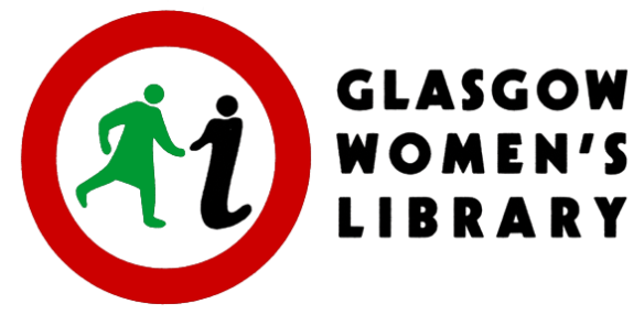 A symbol of a red circle with a woman holding hands with 'i' standing for information. The letters say 'Glasgow Women's Library.