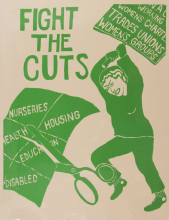 A drawing of a woman bashing scissors cutting childcare, disability benefits, housing, with a large placard. Looking angry and strong.