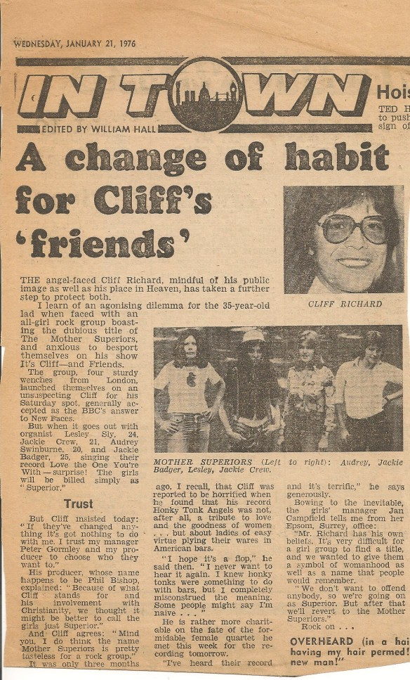 "A newspaper article from 1976 describing how Cliff Richard found the band's name offensive and they were asked to go on TV billed as ""superior""."
