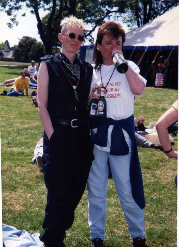 Lynn Sangster and Sandie Wyles at Gay Pride early 1990s in Edinburgh